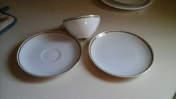 Assorted cups, saucers, cake plates