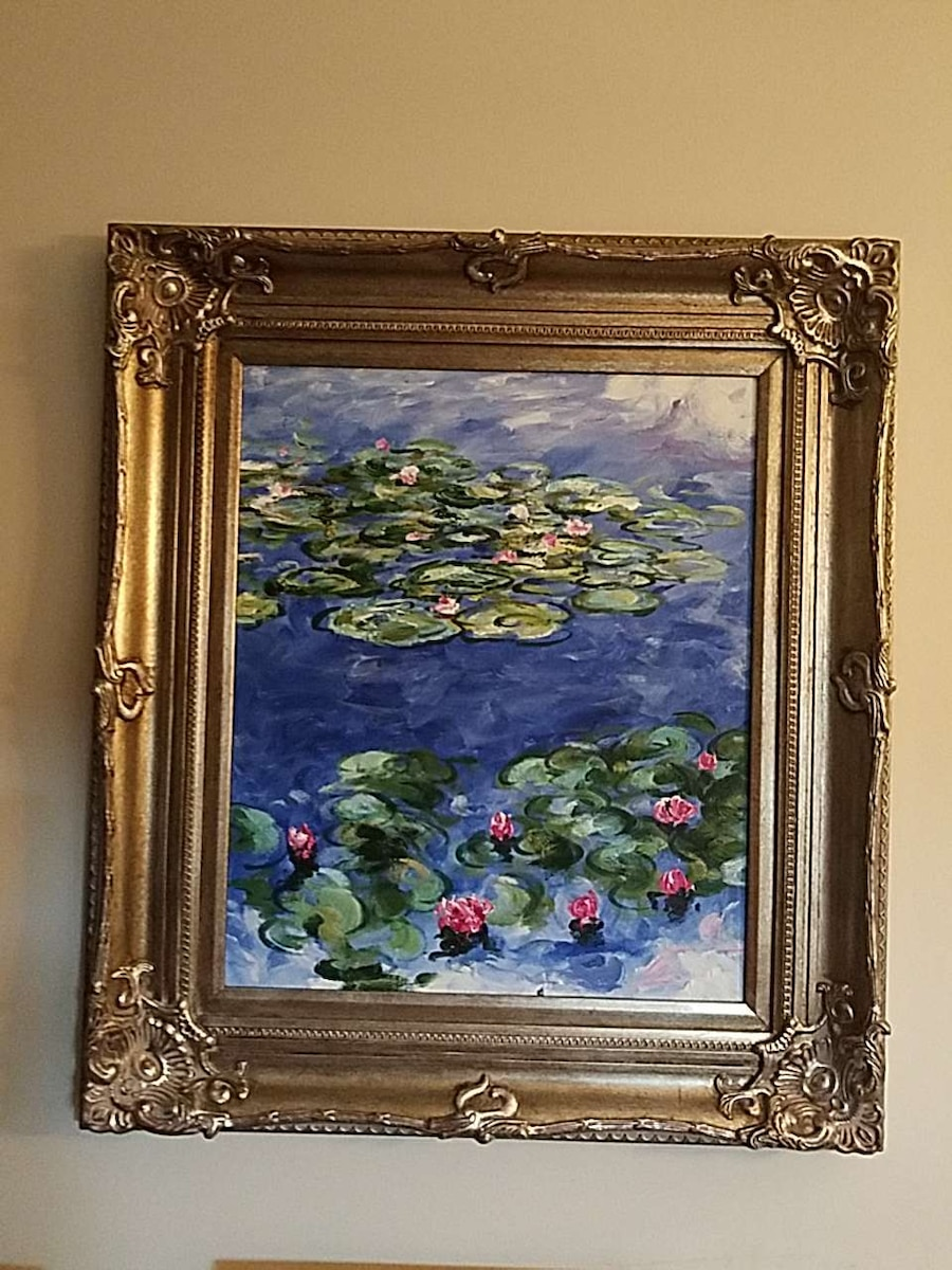 green water lily pods painting