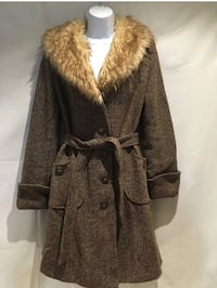 H&M DIVIDED Faux Fur Collar Beige & Brown Wool Blend Jacket Women's Size (US) 8 Mc Lean, 22101