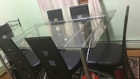 rectangular glass top table with 6 chairs dinin