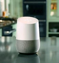 white and gray Google Home