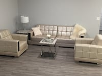 White leather sofa set with coffee table Red Deer, T4P 0N7
