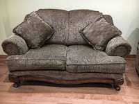 brown wooden framed gray fabric love seat and Sofa Ajax, L1T 3T8