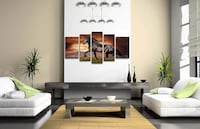 Wall Art Canvas Running Horse Black Friesian Painting Pictures for Home Decoration Gift Coquitlam