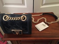 BRAND NEW Calvin Klein navy blue leather and gold chain purse