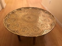 """Antique Middle East (Persian) Hand-Etched Round Brass Table Depicting Poetry of Iran - 35"""" Diameter"""