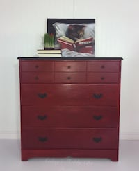 Red Farmhouse Chic Style Dresser