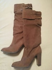 pair of brown suede buckle strap chunky heeled kne Parkhill, N0M 2K0