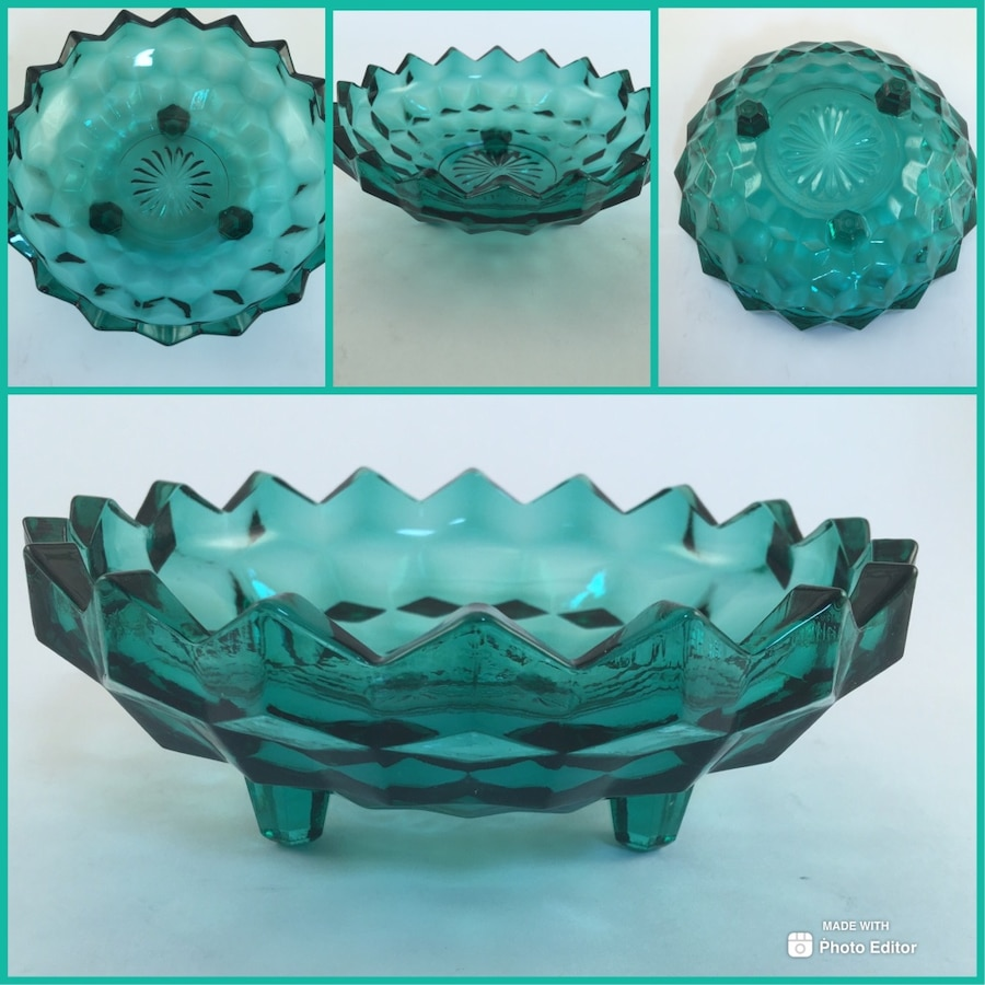 Photo Gorgeous Vintage Green Diamond Point Candy/Nut/Mint Dish!