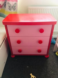Pink and white wooden 3-drawer chest Northolt, UB5 5PE
