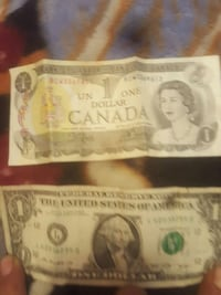 1 U.S. dollar banknote and 1 Canadian dollar banknote Edmonton, T5H 0S9