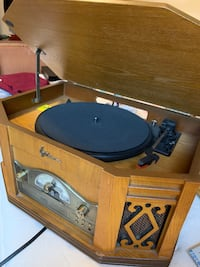Record player with cassette and radio