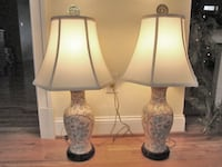 Pair of Peach Vintage Hand-Painted Porcelain Lamps from Hong Kong Linganore