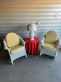 2 Antique White Wicker Chairs