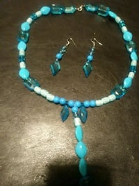 blue and white beaded necklace and hook earrings set Woodbridge, 22193