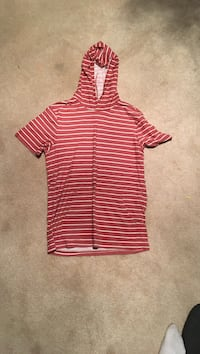 Red/White Striped Hooded Shirt, Size Small Haymarket, 20169