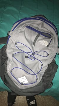 gray and black The North Face backpack