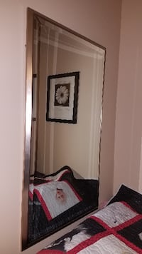 Shimmery metal frame beveled mirror, asking $45