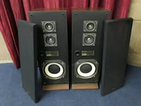 Two FISHER black-and-brown audio speakers Montréal, H3E 1C2
