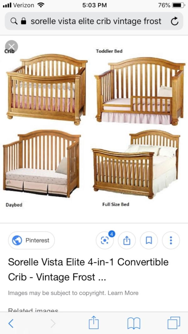 Sorelle Vista Elite 4 In 1 Crib With Toddler Rail Plus 7 Drawer Dresser And Changing Topper