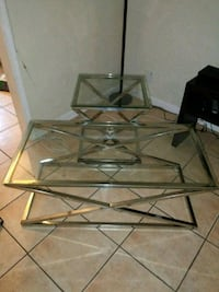 rectangular clear glass top table with black metal base Lawndale, 90260