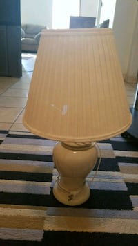 brown wooden base with white lampshade table lamp Mercedes, 78570