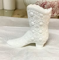 Antique milk glass boot. 5 inches tall 5 inches wide Langley, V1M 2J1