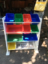 White, blue, and green plastic toy organizer storage Innisfil, L9S 2G1