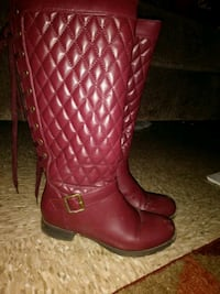 Maroon knee high boots Cleveland Heights