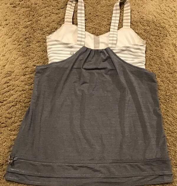 Lululemon gray & white racerback tank top