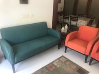 Rome style sofa 3+1+1 in teal and rust colour from pepperfry Bengaluru, 560068