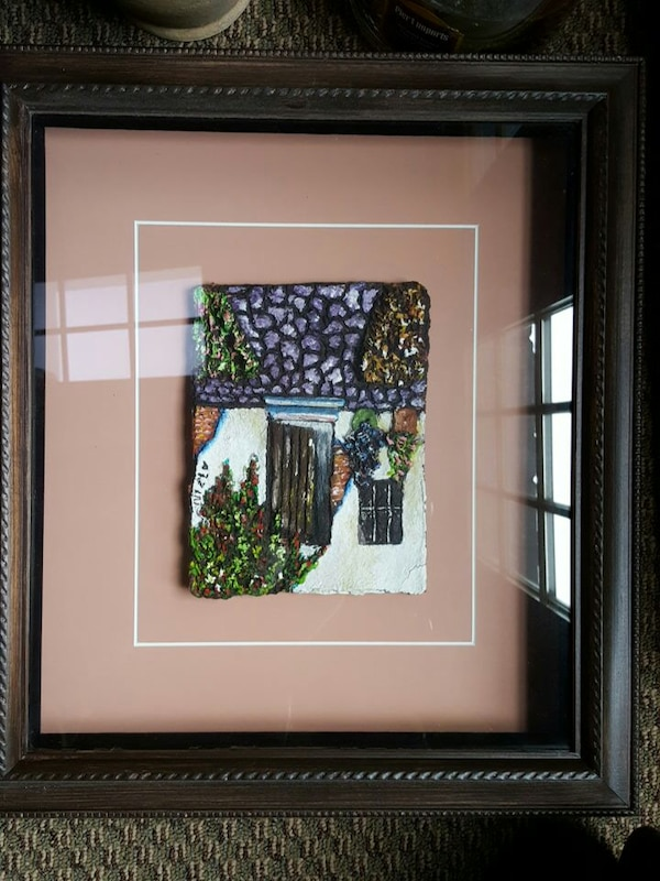Used White Purple And Green Window Frame Wall Decor With Brown