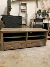 brown wooden TV stand with cabinet Nanaimo, V9R 6G8