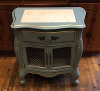 Blue 2-drawer chest with solid marble inlay on top. New Orleans, 70130