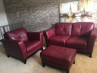 Genuine leather loveseat, chair, ottoman and canvas pic are in great condition, as shown in pic.  All four pieces available NOW for pickup only.   Must pay by PayPal or Venmo.  Will accept best offer. Rockville, 20850
