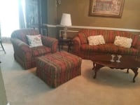 Living room furniture two end tables 1 coffee table two chairs couch a