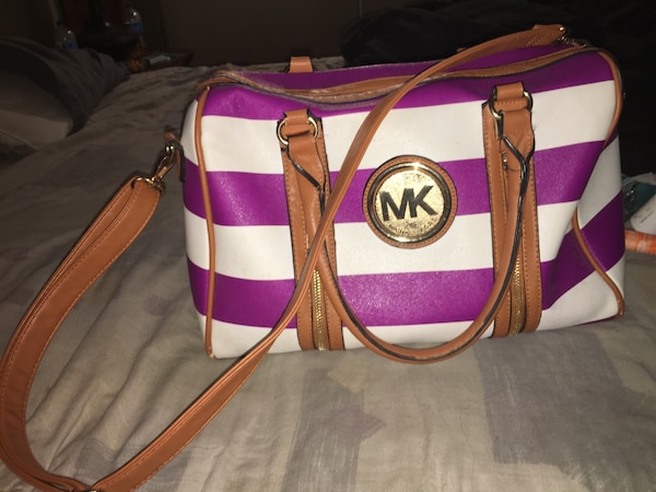 054b22870381 Used Purple and white striped Michael Kors two way bag for sale in Troy