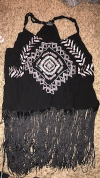 Black and white tasseled spaghetti strap top