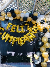 Ballon garland with the letters and 12 hydrangeas must pick up today Corona, 92880