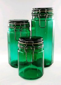 Set of 3 Vintage Green Panel Glass Wire Bale Canister/Jar/Containers