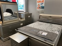Champagne, black or Merlo upholstered sleigh bedroom sets starting at $399 brand new Essex, 21221