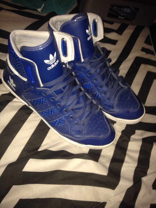 32200494254506 Used Blue-and-white Adidas Raleigh high-top sneakers Size 10 for ...