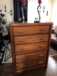 Brown wooden tallboy dresser 48 x36x18