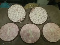 Five wooden letter plates San Angelo