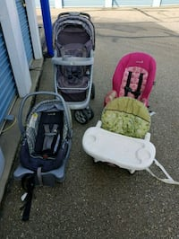 baby's gray and green travel system Edmonton, T5C 1S7