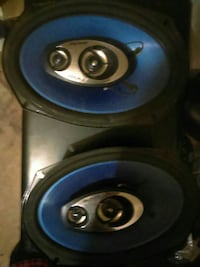 two blue-and-black coaxial speakers