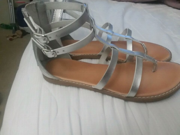 pair of silver leather open-toe sandals