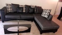 black leather sectional sofa with throw pillows Decatur, 30030