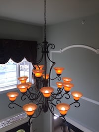 """Cast iron large chandelier . 45"""" across perfect condition !!"""