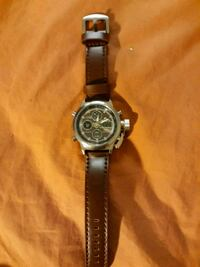round silver chronograph watch with black leather  Alexandria, 22310
